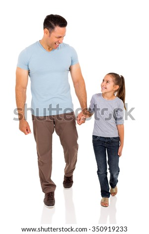 happy middle aged man and daughter walking on white background