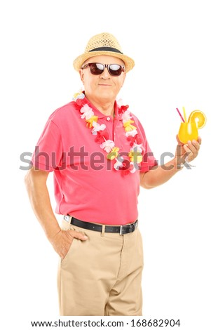 Happy middle aged man on a vacation holding a cocktail isolated on white background - stock photo