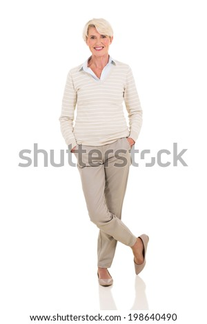 happy middle aged woman isolated on white background - stock photo
