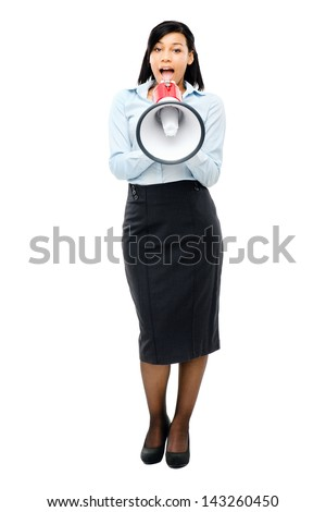 Happy mixed race business woman holding megaphone isolated on white background - stock photo