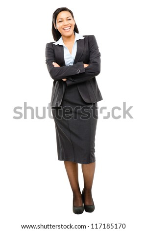 Happy mixed race business woman isolated on white background - stock photo