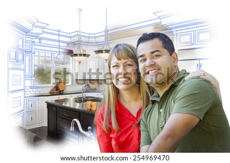 Happy Mixed Race Couple Over Kitchen Design Drawing and Photo Combination on White. - stock photo