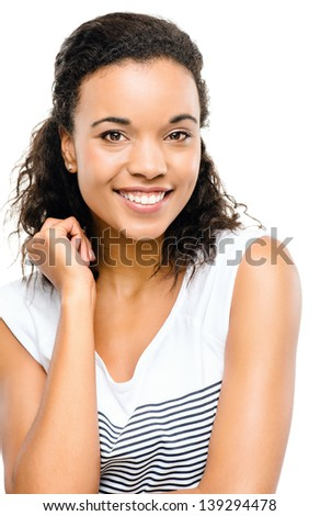 Happy mixed race woman out of ideas isolated on white background - stock photo