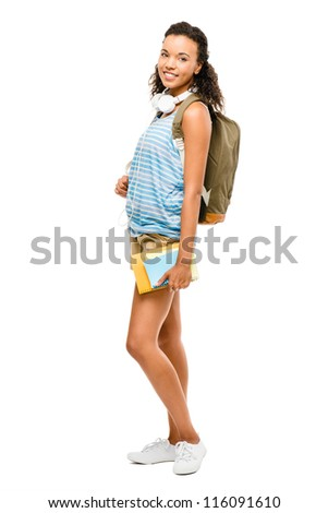 Happy mixed race woman student going back to school
