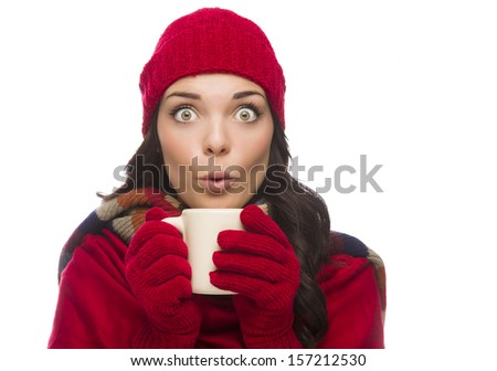 Happy Mixed Race Woman Wearing Winter Hat and Gloves Holds a Mug Isolated on White Background. - stock photo