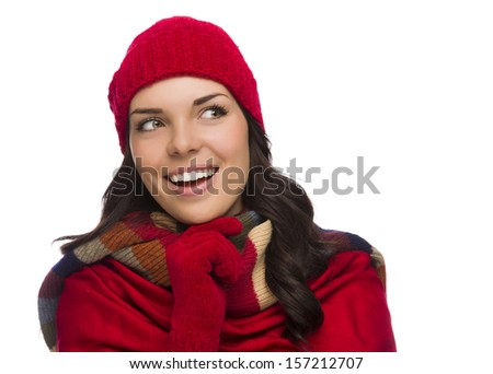 Happy Mixed Race Woman Wearing Winter Hat and Gloves Looking to the Side Isolated on White Background