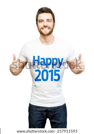 "Happy model on white tshirt showing the message ""Happy 2015"""