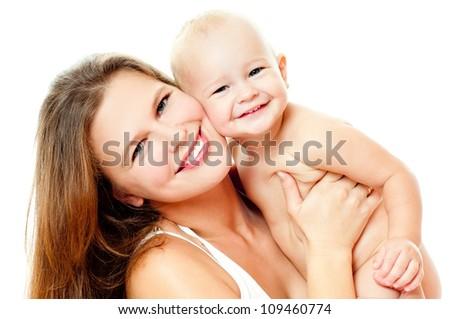 happy mom and baby - stock photo