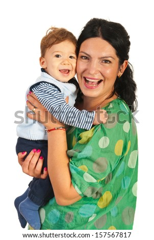 Happy mom and baby boy laughing together isolated on white background