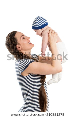 Happy mom and child girl hugging isolate on white background. The concept of childhood and family. Beautiful Mother and her bab - stock photo