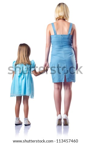 Happy mom and daughter on white - stock photo
