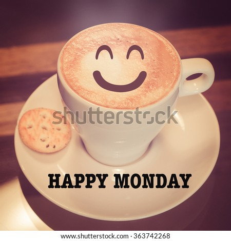 Happy Monday with coffee cup on table  - stock photo
