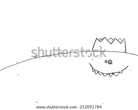 Happy monster wearing party hat cartoon character outline illustration. - stock photo