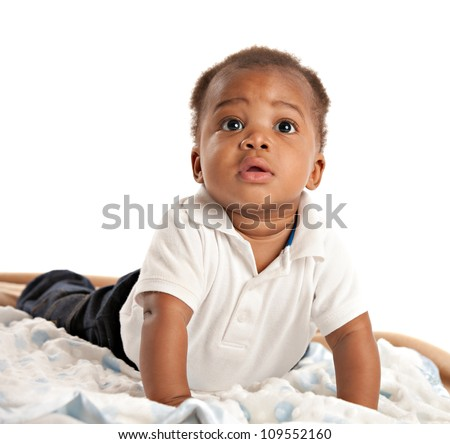 happy 3-month old African American baby boy Crawling portrait - stock photo