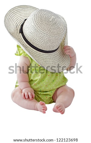 Happy 6 month old baby girl in green sun dress plays peekaboo with big straw hat. Isolated on white background, vertical, copy space.