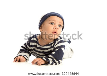 Happy 4 Months Old African American Baby Boy Crawling on Isolated Background - stock photo