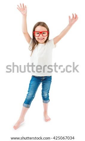 Happy mood kid in casual clothes white t-shirt without print blue jeans and red trendy glasses. Raise hands up. Catalog template for place brand logo ad or image information