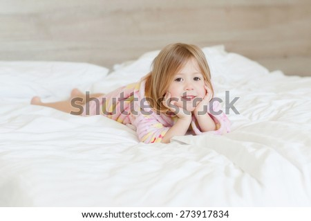 Happy morning a little girl - stock photo