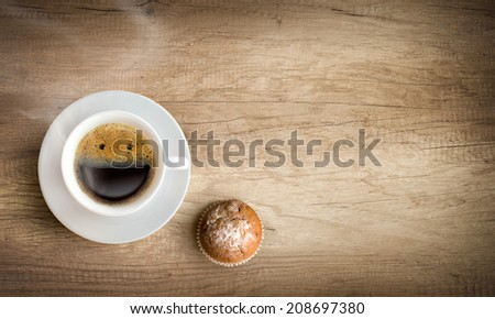 happy morning cup of coffee with copy space - stock photo
