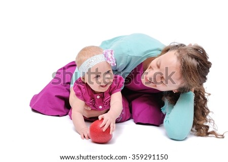 Happy Mother and Child/Happy Mother and Child; Isolated over White Background; Happy Family - stock photo