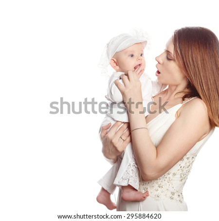 Happy mother and daughter. Isolated on white background. The concept of happiness in the family.