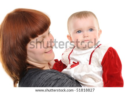 Happy mother and daughter smiling isolated over a white background