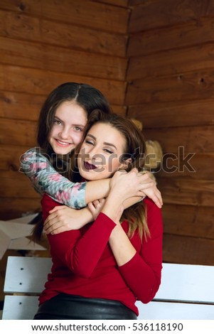 Happy mother and daughter, which it embraces