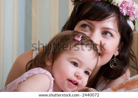 happy mother and little daughter