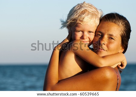 happy mother and son - stock photo
