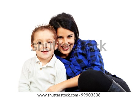 Happy Mother and Son Isolated on White - stock photo