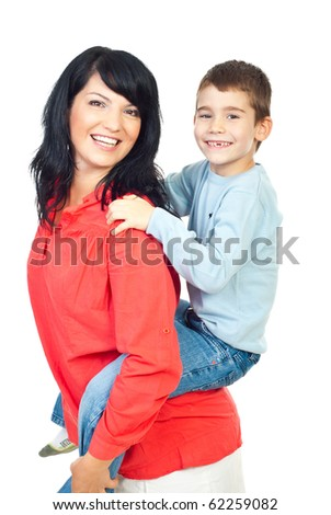 Happy mother and son with missing teeth in  piggy back isolated on white background - stock photo