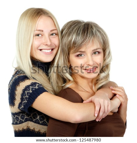 Happy mother and teen daughter portrait over white