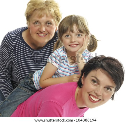happy mother daughter and grandmother - stock photo