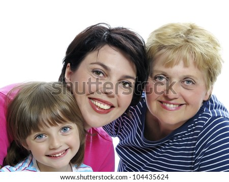 happy mother daughter and grandmother on white background - stock photo