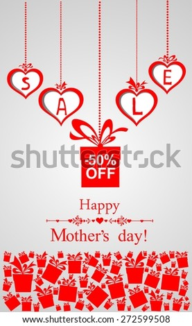 Happy mother day background. Sale design template.  Illustration - stock photo