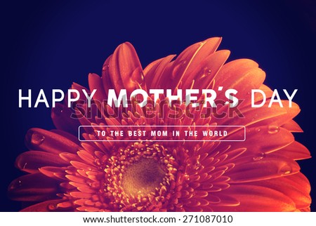 Happy Mother day quote concept vintage retro flower close up background ideal for greeting card and poster design. - stock photo