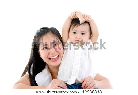 happy mother having fun with baby girl - stock photo