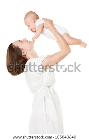 happy mother holding her baby. isolated on white background - stock photo