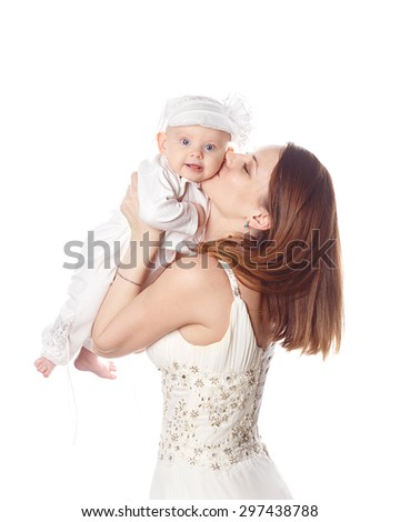 Happy mother kissing her firstborn. Isolated on white background. The concept of happiness is having children. - stock photo
