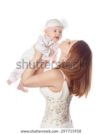 Happy mother picks up her daughter in her arms. Isolated on white background. The concept of happiness is having children. - stock photo