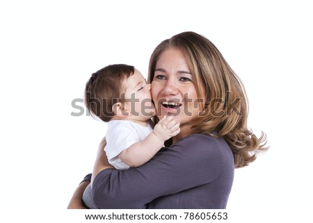 Happy mother playing with her baby son (isolated on white)