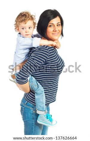 Happy mother playing with her little son isolated on white background