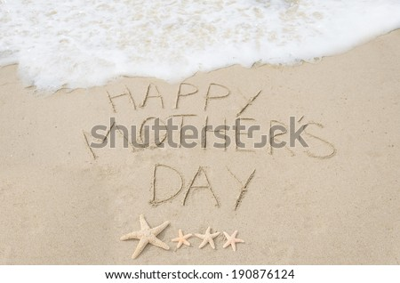 Happy mother's day background on the sandy beach - stock photo