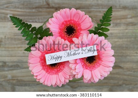 Happy Mother's day card with pink gerbera daisies  - stock photo