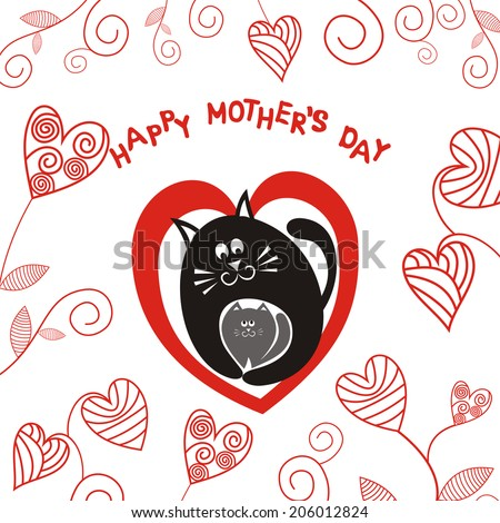 Happy mother's day cat and kitten illustration