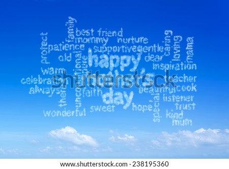 happy mother's day info text graphic and arrangement concept on blue sky background - stock photo