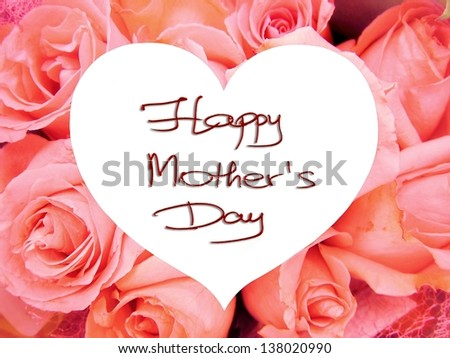 Happy Mother's Day picture image illustration with pink roses background isolated writing handwriting - stock photo