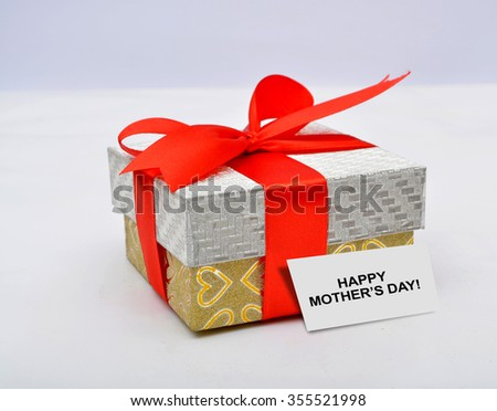 Happy Mother's Day with gift box isolated