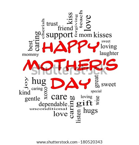 Happy Mother's Day Word Cloud Concept in red caps with great terms such as kisses, love, hugs and more.
