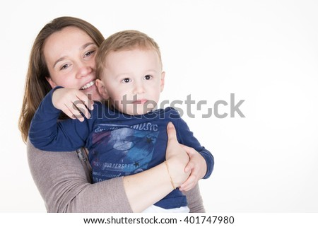 Happy mother talking to her son isolated - stock photo